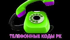 Коды телефонов городов Казахстана